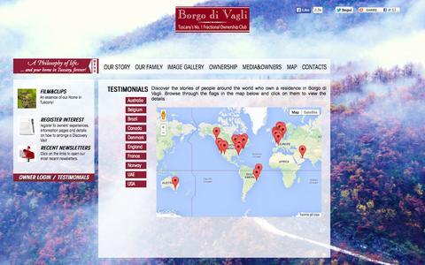 Screenshot of Testimonials Page clubborgodivagli.com - Reviews of Borgo di Vagli by fractional owners - captured Oct. 29, 2014