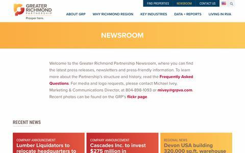 Screenshot of Press Page grpva.com - Newsroom – Greater Richmond Partnership   Virginia   USA - captured Sept. 30, 2018