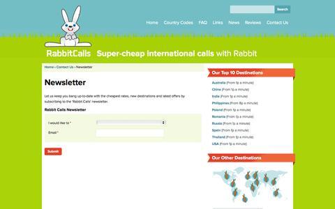 Screenshot of Signup Page rabbitcalls.co.uk - Newsletter   Rabbit Calls - captured Oct. 1, 2014