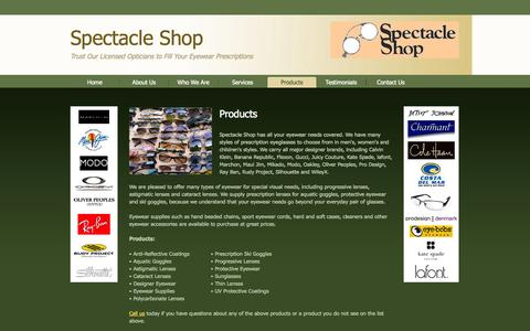 Screenshot of Products Page specshop.net - Spectacle Shop offers quality products for all your optical requirements in Charlottesville, VA. - captured Oct. 6, 2014