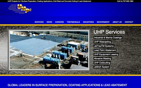Screenshot of Home Page uhpprojects.com - Industrial and Marine Coating | Lead Abatement - UHP Projects - captured Jan. 23, 2015