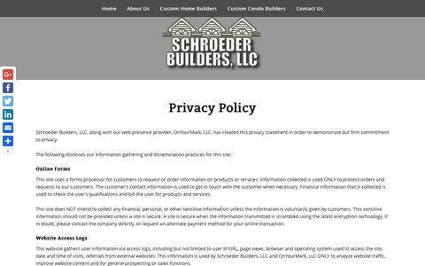 Screenshot of Privacy Page schroederbuildersllc.com - Privacy Policy - Schroeder Builders, LLC - captured May 10, 2017
