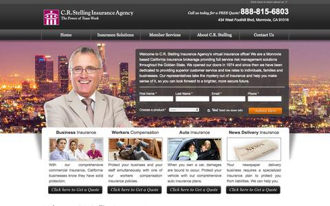 Screenshot of Home Page crstelling.com - C.R. Stelling Insurance Agency | California Insurance Broker | CA Insurance | California Insurance Agency | Insurance Quotes & Solutions in CA - captured Oct. 1, 2014