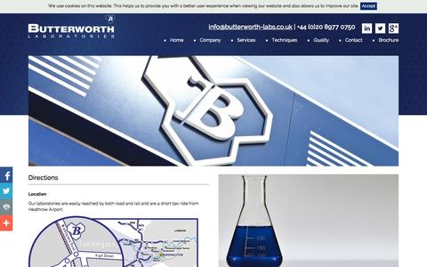 Screenshot of Maps & Directions Page butterworth-labs.co.uk - Directions - captured Oct. 5, 2014