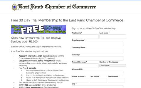 Screenshot of Trial Page chamberlink.co.za - East Rand Chamber of Commerce | Membership - captured Nov. 1, 2014