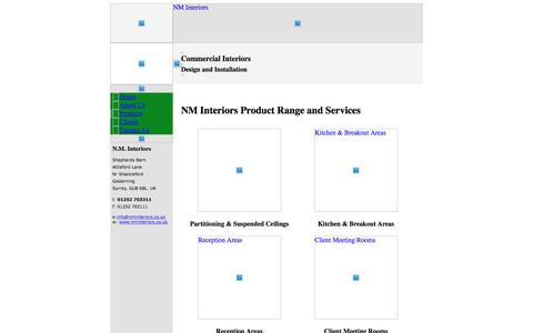 Screenshot of Products Page nminteriors.co.uk - NM Interiors product range and commercial office interior design services - captured July 4, 2016