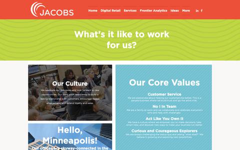 Screenshot of Jobs Page jacobsmarketing.com - Jacobs - Careers in Retail - captured Nov. 6, 2018