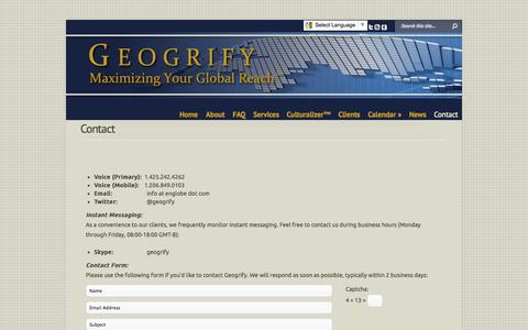 Screenshot of Contact Page geogrify.com - Contact | Geogrify - captured Oct. 2, 2014