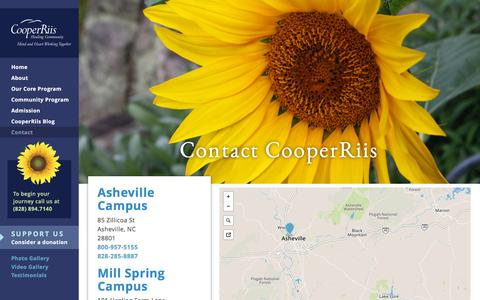 Screenshot of Contact Page cooperriis.org - Contact CooperRiis - CooperRiis Healing Community - captured May 22, 2017