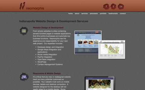 Screenshot of Services Page neomorphis.com - Indianapolis Website Design & Development Services - captured Jan. 7, 2016