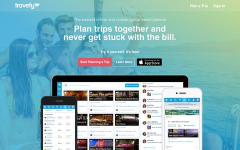 Screenshot of Home Page tripeese.com - Group Travel Planner - Travel Planning | Travefy - captured Aug. 11, 2015