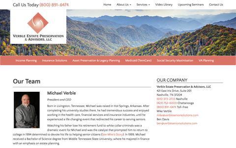 Screenshot of Team Page verbleseniorsolutions.com - Our Team - Verble Estate Preservation & Advisors, LLC - captured Nov. 5, 2017