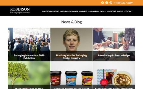Screenshot of Press Page robinsonpackaging.com - News Archive • Robinson Packaging - captured Sept. 24, 2018