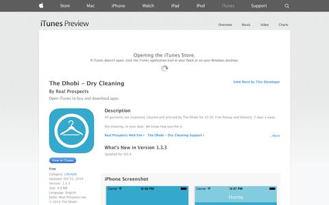 Screenshot of iOS App Page apple.com - The Dhobi - Dry Cleaning on the App Store on iTunes - captured Oct. 26, 2014