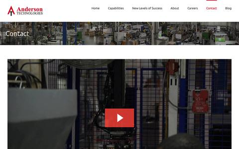 Screenshot of Contact Page andtec.com - Contact - Anderson Technologies - captured Oct. 3, 2018