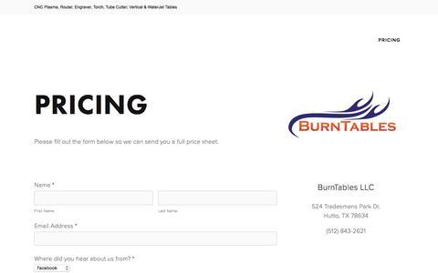 Screenshot of Pricing Page burntables.com - BurnTables CNC Tables - captured June 3, 2017