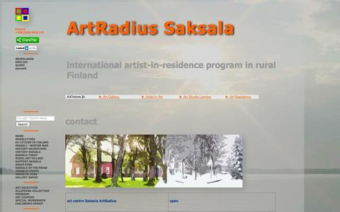 Screenshot of Contact Page saksala.org - contact art center kunst-centrum taide-keskus Saksala Art-Radius Haukivuori Finland - captured Oct. 4, 2014