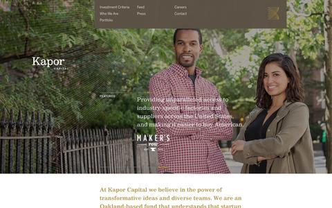 Screenshot of Home Page kaporcapital.com - Kapor Capital - captured Jan. 9, 2016