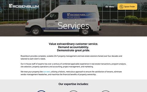 Screenshot of Services Page rosenblumcompanies.com - Services | The Rosenblum Companies - captured Dec. 21, 2018