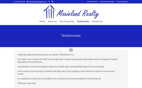 Screenshot of Testimonials Page moxieland.com - Testimonials - Moxieland LLC - captured Feb. 28, 2016