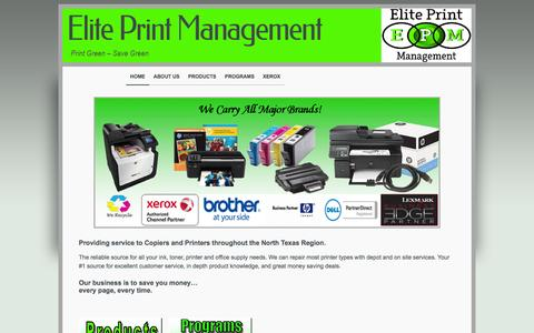 Screenshot of Home Page eliteprintmanagement.net - Elite Print Management - Rockwall, Rowlett, Texas - captured Oct. 2, 2014