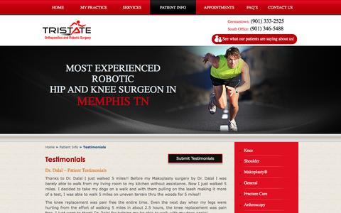 Screenshot of Testimonials Page tri-stateorthopaedics.com - Testimonials | Dr. Apurva Dalal | Tri-State Orthopaedics Memphis TN - captured Feb. 25, 2016