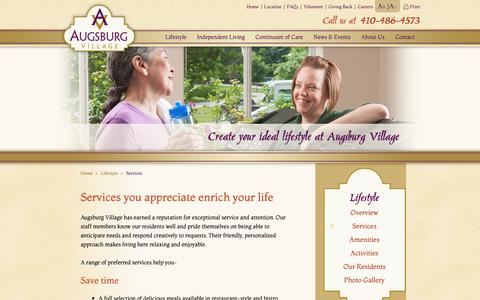 Screenshot of Services Page augsburg.org - Services - Augsburg Village - captured Oct. 4, 2018