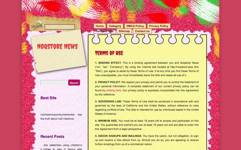 Screenshot of Terms Page noqstore.asia - Noqstore News » Terms of Use - captured July 9, 2016