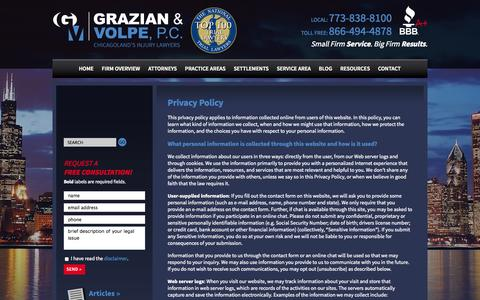 Screenshot of Privacy Page myaccidentlaw.com - Privacy Policy | Grazian & Volpe, P.C. | Chicago - captured Oct. 3, 2014