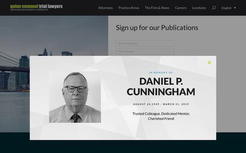 Screenshot of Signup Page quinnemanuel.com - Sign Up |  Quinn Emanuel Urquhart & Sullivan, LLP - captured April 8, 2019