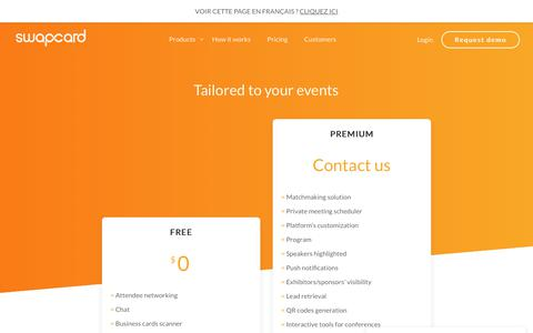 Screenshot of Pricing Page swapcard.com - Pricing   Swapcard - captured Jan. 30, 2018