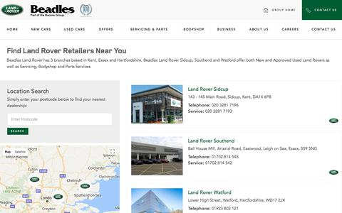 Screenshot of Contact Page Locations Page beadles.co.uk - Beadles Land Rover Locations | Beadles Land Rover - captured Feb. 10, 2018