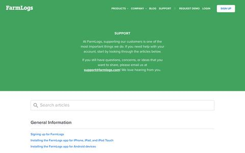 Screenshot of Support Page farmlogs.com - Support - We're Here to Help - captured Jan. 16, 2017