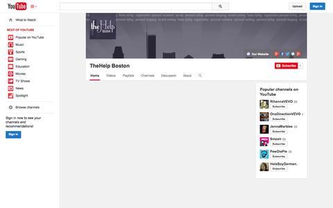 Screenshot of YouTube Page youtube.com - TheHelp Boston  - YouTube - captured Oct. 29, 2014