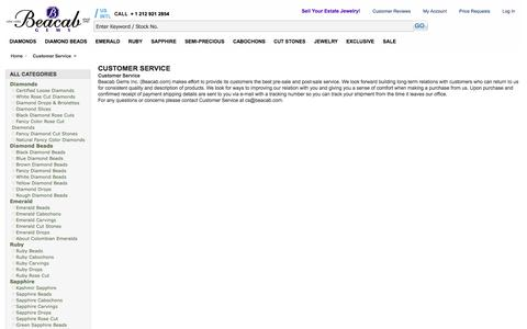Screenshot of Support Page beacab.com - Customer Service - captured Sept. 19, 2014