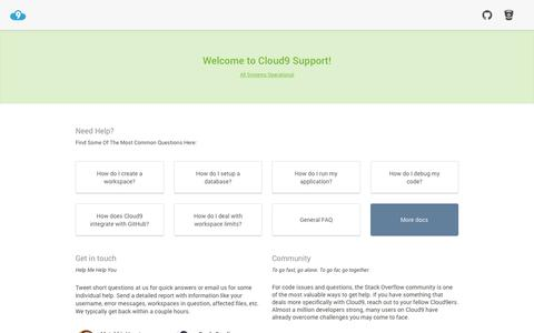 Screenshot of Support Page c9.io - Cloud9 IDE Support - captured Nov. 3, 2015
