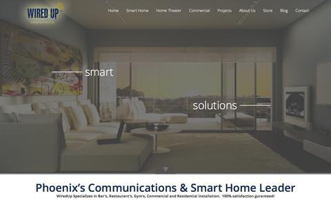 Screenshot of Home Page wiredupinstallation.com - Phoenix Home Theater Installation, Scottsdale Smart Home Solutions, Commercial Wiring :: WiredUp Installation - captured Dec. 5, 2015