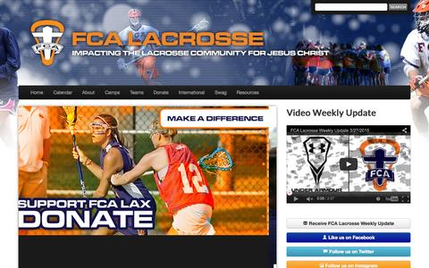 Screenshot of Home Page fcalax.com - Home | FCA Lacrosse - captured Sept. 8, 2015
