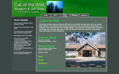Screenshot of About Page Hours Page callofthewildgaylord.com - Call-of-the-Wild-Museum-History-About us - captured March 7, 2017