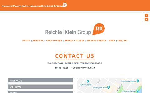 Screenshot of Contact Page rkgcommercial.com - Reichle | Klein Group - Contact - captured Oct. 23, 2018