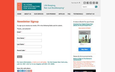 Screenshot of Signup Page eddyandschein.com - Newsletter Signup | Eddy & Schein | New York City Elder Care Finance Services Daily Money Management - captured Sept. 27, 2018