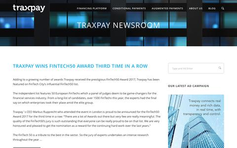 Screenshot of Press Page traxpay.com - Newsroom | Traxpay - captured Nov. 1, 2017