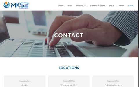 Screenshot of Contact Page mks2.com - CONTACT - MKS2 Technologies - captured Oct. 1, 2018
