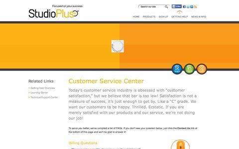Screenshot of Support Page studioplussoftware.com - Getting Help - Customer Service | StudioPlus Software - captured Jan. 16, 2016