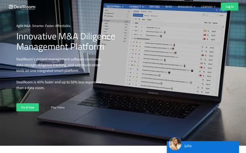 Screenshot of Home Page dealroom.net - DealRoom - Virtual Data Room   Agile M&A Project Management Software - captured Oct. 26, 2018