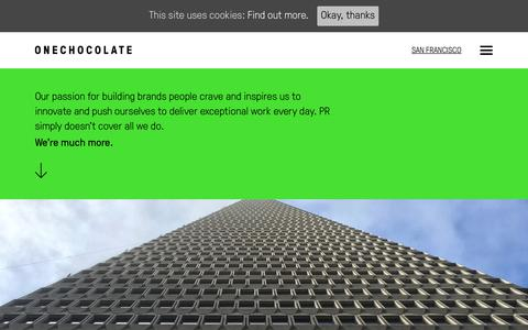 Screenshot of About Page onechocolatecomms.com - About OneChocolate - captured Feb. 12, 2018