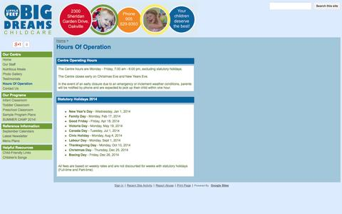 Screenshot of Hours Page littlefeetbigdreams.com - Hours Of Operation - Little Feet Big Dreams Child Care Centre - captured Oct. 3, 2014