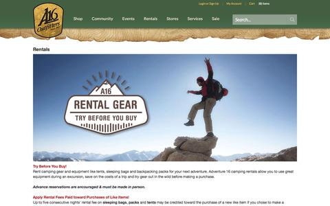 Screenshot of Services Page adventure16.com - Outdoor And Camping Gear Rentals - captured July 29, 2018