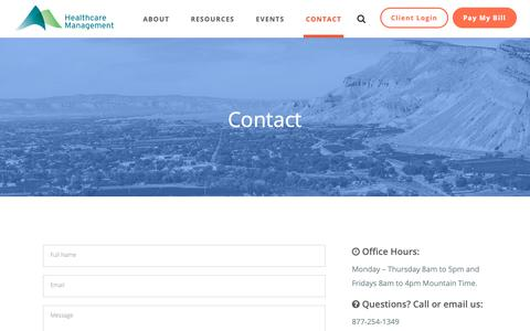Screenshot of Contact Page hcmcolorado.com - Contact - HCM Colorado - captured Sept. 27, 2018