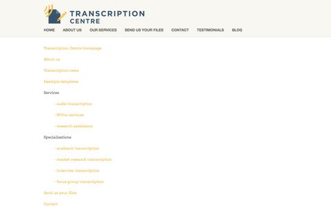 Screenshot of Site Map Page transcriptioncentre.co.uk - Site Map — Transcription Services UK | Transcription Centre - captured June 19, 2017